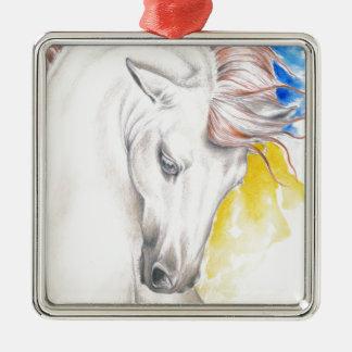 PferdeAquarell-Kunst Quadratisches Silberfarbenes Ornament