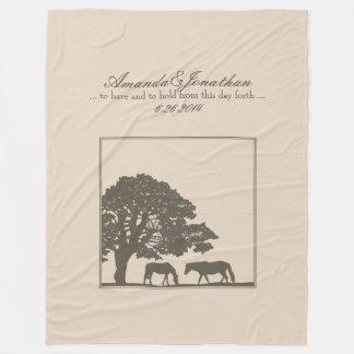 Pferdebauernhof-Hochzeit Browns und des Elfenbeins Fleecedecke