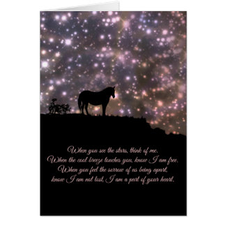 Pferdegeistige Gedicht-Beileids-Karte Grußkarte