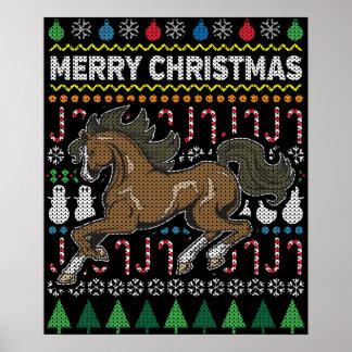 Pferdehässliche Weihnachtsstrickjacke-Tier-Reihe Poster