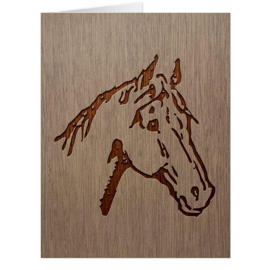 Pferdeillustration graviert auf hölzernem Entwurf Karte