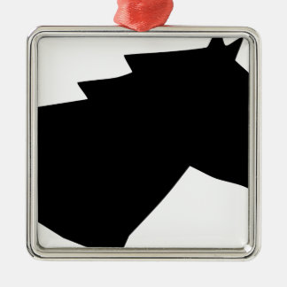 Pferdekopf im Wind Quadratisches Silberfarbenes Ornament