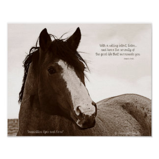 Pferdekunst-Plakat mit inspirierend Zitat 11x14 Poster