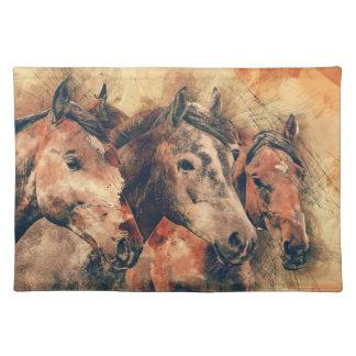 Pferdekünstlerisches Aquarell malend dekorativ Tischset