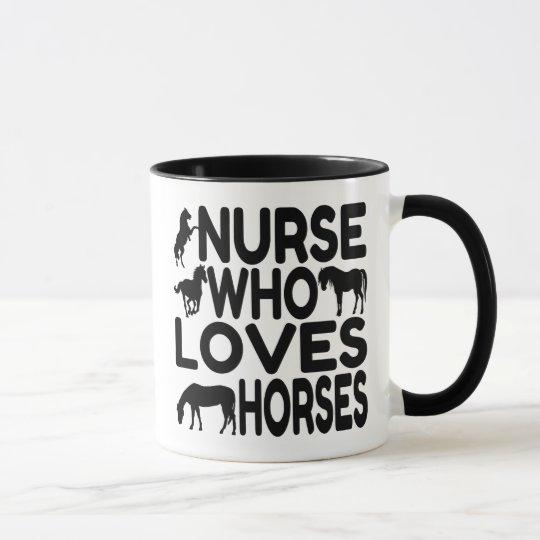 Pferdeliebhaber-Krankenschwester Tasse