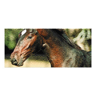 Pferdemosaik-Fliesen-Gestell-Karte Vollfarbige Werbekarte