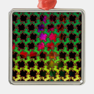 Pferdemuster Quadratisches Silberfarbenes Ornament