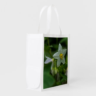 Pferdenessel-weiße Wildblume-wiederverwendbare mit Wiederverwendbare Einkaufstasche
