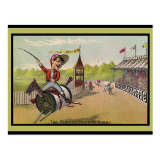 Pferderennen auf Faden-Spulen Postkarte