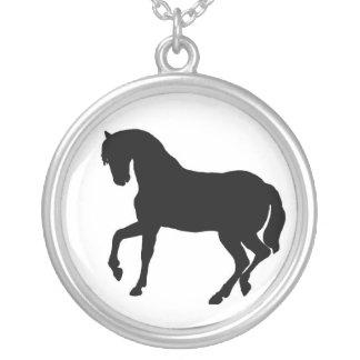 PferdeSilhouette-Sterlingsilber-Halskette Halskette Mit Rundem Anhänger