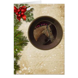 Pferdethema-Weihnachtskarte u. weißer Umschlag Karte