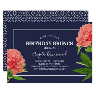 Pfingstrosen-Blumen-Geburtstagbrunch-Blau Karte