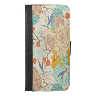 Pfingstrosen-Blumen-Muster iPhone 6 iPhone 6/6s Plus Geldbeutel Hülle
