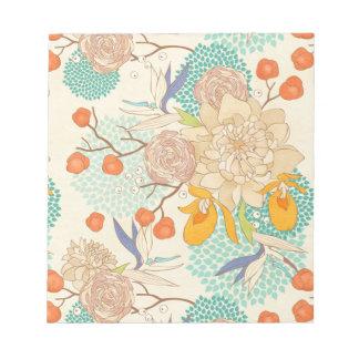Pfingstrosen-Blumen-Muster-Notizblock Notizblock