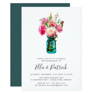 Pfingstrosen-Blumenstrauß-Verlobungs-Party Karte