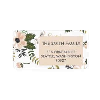 Pfirsich-Blumenadressen-Etiketten Adressetiketten