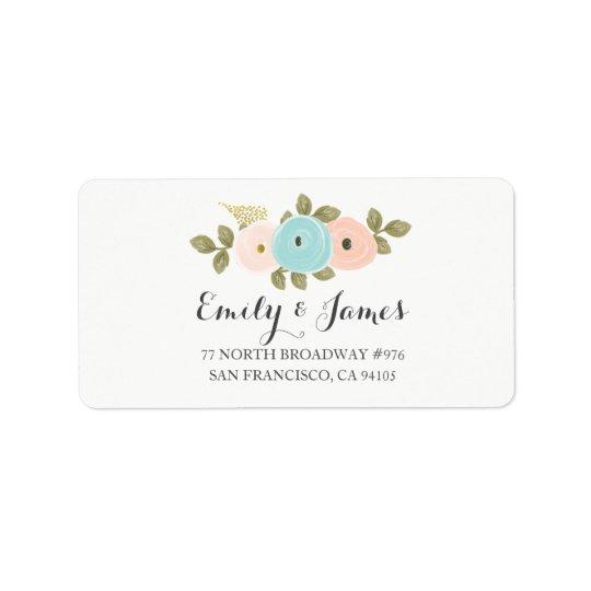 Pfirsich-BlumenAquarell-Hochzeits-Adressen-Etikett Adressetiketten