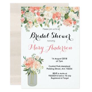 Pfirsich-Blumenmaurerglas Brautparty-Einladungen Karte