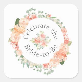 Pfirsich-Blumenring-Brautparty Quadratischer Aufkleber