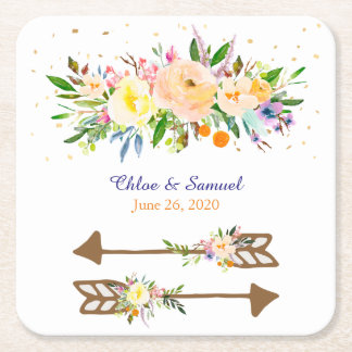 Pfirsich-Blumenstrauß-Hochzeit Kartonuntersetzer Quadrat