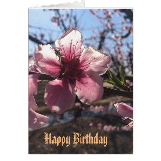 Pfirsich-Blüten-Geburtstags-Gruß-Karte Karte