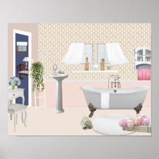 Pfirsich Dekoratives Badezimmer Plakat Mit Poster