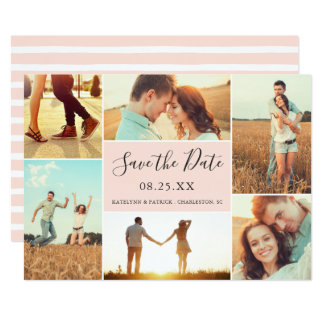 Pfirsich der Foto-Collagen-Save the Date flacher Karte