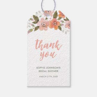 Pfirsich-empfindliche Blumen danken Ihnen für Geschenkanhänger