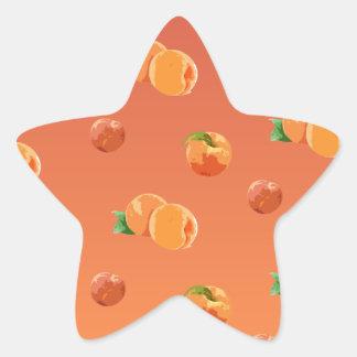 Pfirsich-Frucht-Muster Stern-Aufkleber