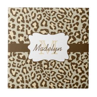 Pfirsich-Keramik-Fliese Monogramm-Leopard-Browns Kleine Quadratische Fliese