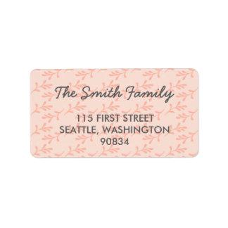 Pfirsich-korallenrote rosa Adressen-Etiketten Adressaufkleber