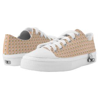 Pfirsich mit weißes Gänseblümchen-Motiv-niedriger Niedrig-geschnittene Sneaker
