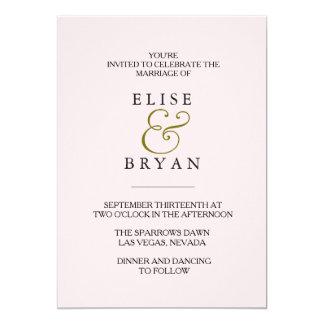 Pfirsich-moderne elegante Hochzeit laden ein Karte