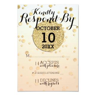 Pfirsich Ombré u. GoldConfetti ♥ Hochzeit UAWG 8,9 X 12,7 Cm Einladungskarte
