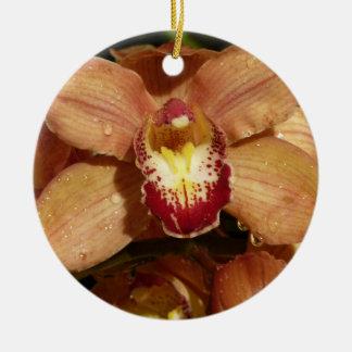 Pfirsich-Orchideen mit Regentropfen-schönem Blumen Keramik Ornament
