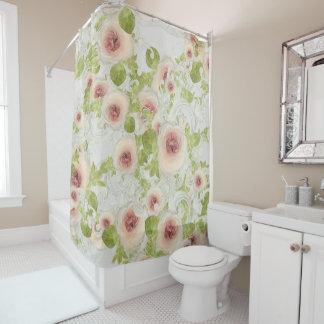 Pfirsich-Pfingstrosen-Blüten-Blumenkunst modernes Duschvorhang