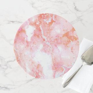 Pfirsich-rosa bewölkter Marmorstein Tortenplatte
