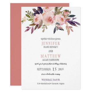 Pfirsich-rosa Lavendel-lila Blumen, die | Wedding Karte