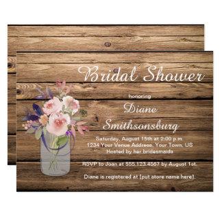 Pfirsich-rosa Lavendel-Wildblumen Barnwood Braut 12,7 X 17,8 Cm Einladungskarte