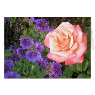 Pfirsich-Rose und lila Pelargonie-Karten Karte