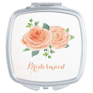 Pfirsich-Rosehübscher Watercolor Taschenspiegel