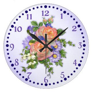 Pfirsich-Rosen-Blumenstrauß Große Wanduhr