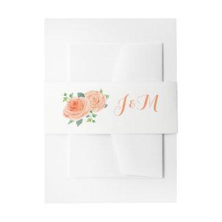 Pfirsich-Rosen, die Einladungs-Bauch-Bänder Einladungsbanderole