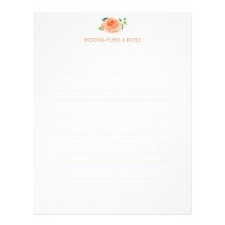 Pfirsich-Rosen, die Planungs-Seiten Wedding sind Flyer