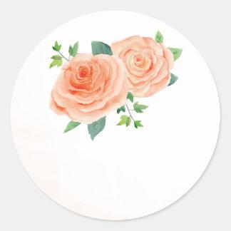 Pfirsich-Rosen-Gastgeschenk Hochzeits-Aufkleber Runder Aufkleber