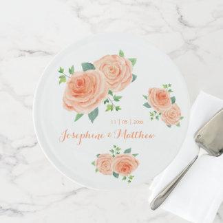 Pfirsich-Rosen-HochzeitWatercolor Tortenplatte