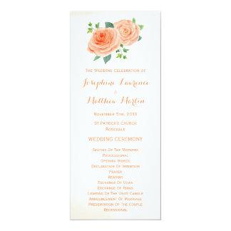 Pfirsich-Rosenwatercolor-Hochzeits-Programme Karte