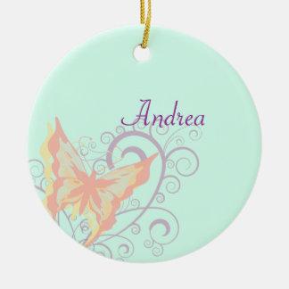 Pfirsich-Schmetterling Rundes Keramik Ornament