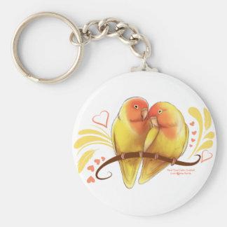 Pfirsich stellte Lutino Lovebirds gegenüber Schlüsselanhänger