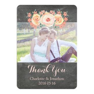 Pfirsich-Tafel-Hochzeit danken Ihnen Foto-Karten 12,7 X 17,8 Cm Einladungskarte